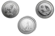 Canada - 3 x $2 - 3 pieces 999 silver coins - Grey Wolf/Howling Wolf 2015 + 2016 + 2017 - complete series