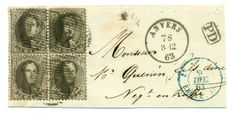 Belgium - block of 4 COB 14A on fragment from Antwerp to France, 8 Dec 1863