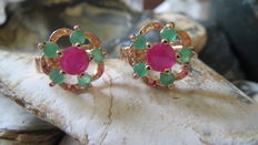 Yellow gold earrings with rubies and emeralds