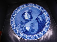 Porceleyne Fles - Wall Plate 41 cm, lute player.