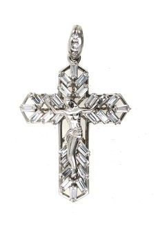 Heavy cross pendant, 585 white gold with zirconia