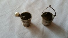 Two silver miniatures of a mortar and pestle, Holland, 1950-1960