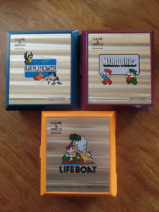 Lot of 3 Nintendo Game & Watch - Rain Shower - Mario Bros - Life Boat