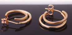 Gold creole earrings - Double-rowed - Decorated - Poly