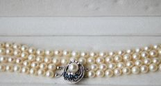 2- row pearl necklace with Akoya pearls ca.  Ø 6 mm and clasp with natural Sapphires and diamonds; 0,88 ct total