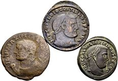 Roman Empire – Lot of 3 late-Roman coins, Follis / Diocletianus, Maximianus and Galerius 284-311 A.D.