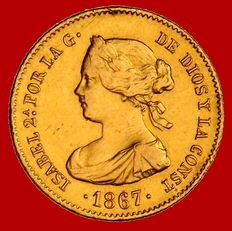 Spain – Isabel II (1833–1868) – 4 escudos gold coin – 1867 – Madrid