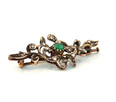 19th century 18K gold & silver, rosecut diamonds & cabochon emerald brooch