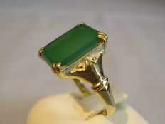 Gold ring with green agate