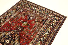 Antique Caucasian Oriental carpet 2.52 x 1.50m. Authentic hand-knotted carpet from 1930, Caucasus