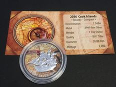 Cook Islands - 1 x 1 Cook dollar bounty sailing ship - exclusive colour Edition 2016 - with certificate - 1 piece 999 silver coins