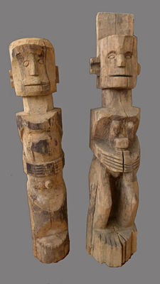 2 ancestral figures - Akha sub-group Lomi - Laos