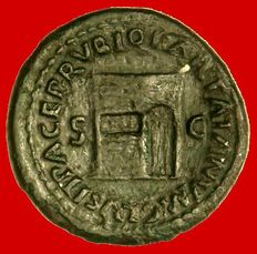 Roman Empire -  Nero (54-68 A.D.), bronze as (10,79 g. 27 mm.) from Rome mint, 65 A.D. Sanctuary of Janus Geminus with closed door wings. Rare.