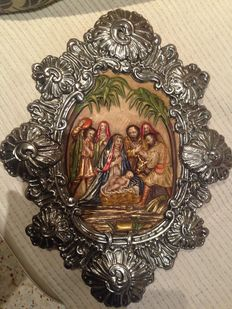 Altarpiece made in polychrome wood and plated brass. Original from Cordoba, Spain. Last century