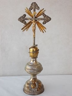 Antique gold plated and silver monstrance - Italy, early 20th century