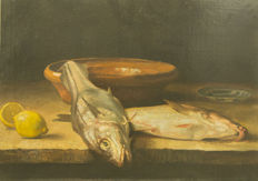 Dutch School (19th century) - still life with fish