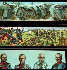 12 rare WWI War Scenes magic lantern slides, 4 x 15cm, ~1915