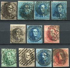 Belgium 1858/61 - Composition Leopold 1 between OBP 1 and 12.