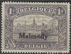 """Belgium – Occupation, OBP no. OC75, perforation 15 – 1F violet with overprint """"Malmédy"""""""