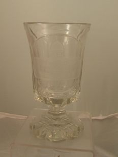 Bohemian cut glass spa beaker dated 1882 and engraved with a scene of Marienbad