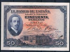 Spain - 50 Pesetas 1927 - Without ink stamp, with embossed stamp - Pick 72a