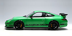 AUTOart - Scale 1/18 - Porsche 911 Type 997 Gt3 RS - Green colour with black stripes