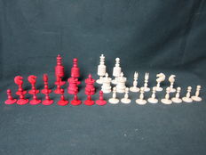 Complete antique selenus chess set made from bone