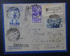 Italian East Africa, 1938 – Air Mail envelope – Mogadishu to Pinerolo
