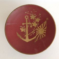 Imperial Japanese Navy wooden lacquer memorial sake cup (relatively large)