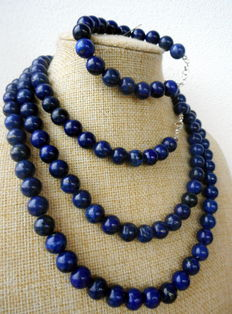 Parure: necklace with a bracelet made of Afghan lapis lazuli