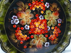 Russian hand painted tray - signed