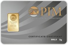 5g gold bar Nadir PIM GOLD fine gold, fineness 999.9/1,000; 24 Karat, 5 gramm Goldbarren Bullion, LBMA certified,