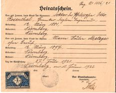 Personalia; Jewish Marriage certificate - Germany - 1922