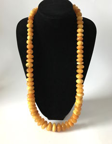 Necklace of 100% natural Baltic amber doughnuts, not treated, egg yolk butterscotch, 197 grams