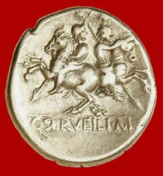 Roman Republic - C Serveilius M. f. silver denarius (3,95 g . 19 mm.) minted in Rome in 136 B.C. The Dioscuri riding apart.