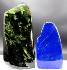 Pair of Fine Royal Blue Lapis Lazuli and green Nephrite polished Tumbles - 113 and 153mm - 1241gm (2)