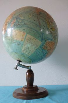 Antique French globe on wooden base