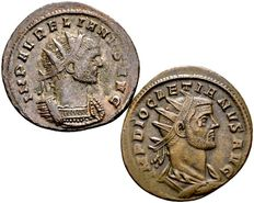 Roman Empire – Lot of 2 AE Antoninianus / Aurelianus (270-275 A.D.) and Diocletianus (284-305 A.D.)