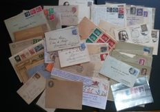 European postal history: batch of 156 envelopes, postcards, etc., 1900/1920