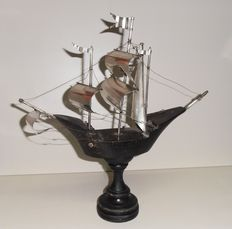 Sailing ship in Silver and wood, Italy late 19th century
