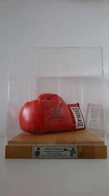 Manny 'Pacman' Pacquiao - Autographed Everlast Boxing Glove with COA JSA in Luxury Display Case