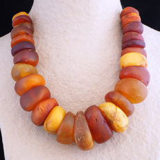 Antique natural amber strand - From Morocco