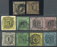 Baden 1851/58 - Cipher, first, second and third issue - Michel 1ab, 2, 3, 4ab, 5/8
