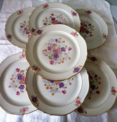 Set of 7 porcelain plates from St Luc - Limoges