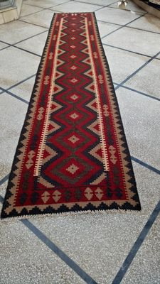 Beautiful Maimana Hand Woven Kilim Runner Rug Double Face Design  390 x 80 CM