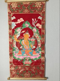 Representation of Manjushri on velvet fabric - Nepal - 21st century
