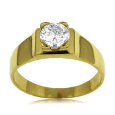 Men's IGI certified 1.01ct Diamond Solitair Ring in Mint Condition. -18kt gold - size 60