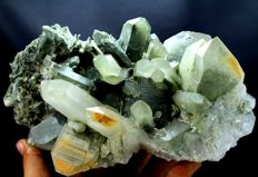 Large Green Chlorite included Quartz Crystal Cluster - 204 x 125 x 123 mm - 1911gm