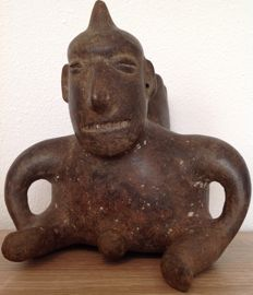 Pre-Columbian Colima seated shaman figure with a horn on his head - 19 cm