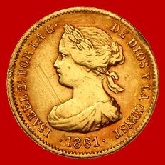 Spain – Isabel II (1833–1868) gold 20 real coin – Madrid – 1861